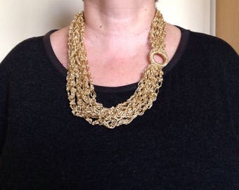 "New: ""Golden"" beautiful necklace with multi strand crochet"