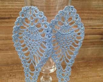 """Long earrings """"pineapple"""" blue crochet lace"""