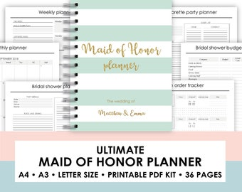 Maid of honor planner printable Maid of Honor Planner | Etsy