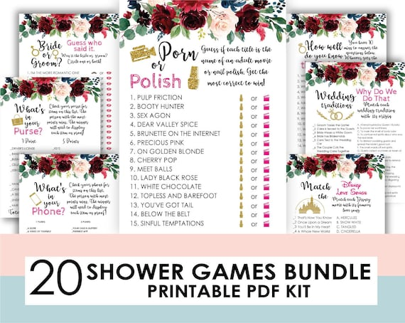 Porn or polish   Drink If Game Bridal Shower Game   Bridal Shower Game    Wedding Shower Game   Bachelorette Party games   floral