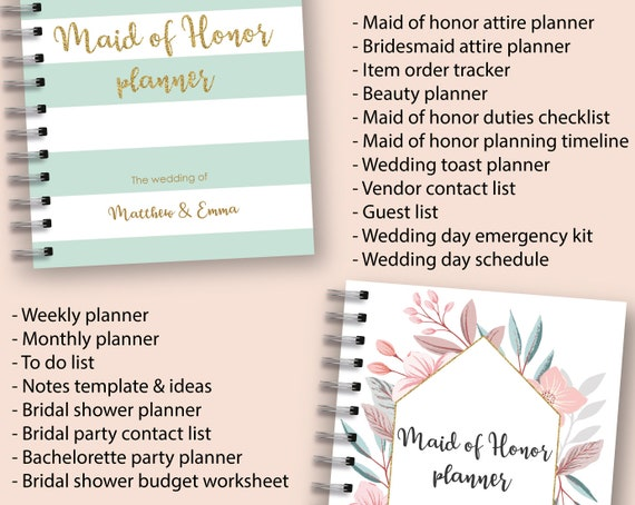 maid of honor planner printable wedding planner maid of etsy