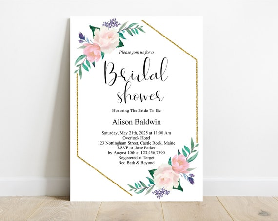 Wedding Shower Invitation Template | Peonies Bridal Shower Invitation Template Bridal Shower Etsy