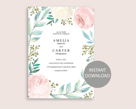 Wedding Invitation Template Printable INSTANT DOWNLOAD Watercolor Invitation Floral Peonies Flowers Invite Editable diy Invitation WI043