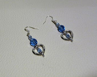 Heart and blue beads earrings.