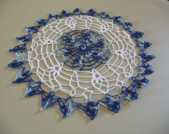 Blue crochet doily handmade jean nuanced and white
