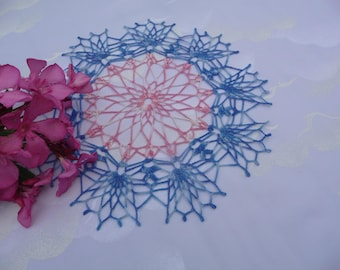 Doily crochet handmade cotton pink and blue gradient.