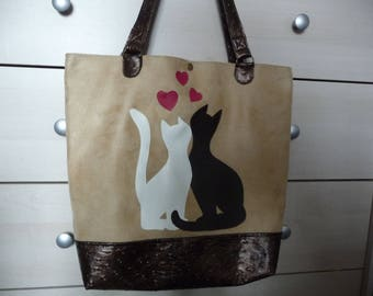 Bag faux leather 'cat lovers.