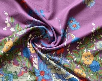Original vintage 70s border fabric purple 50 x 90 cm