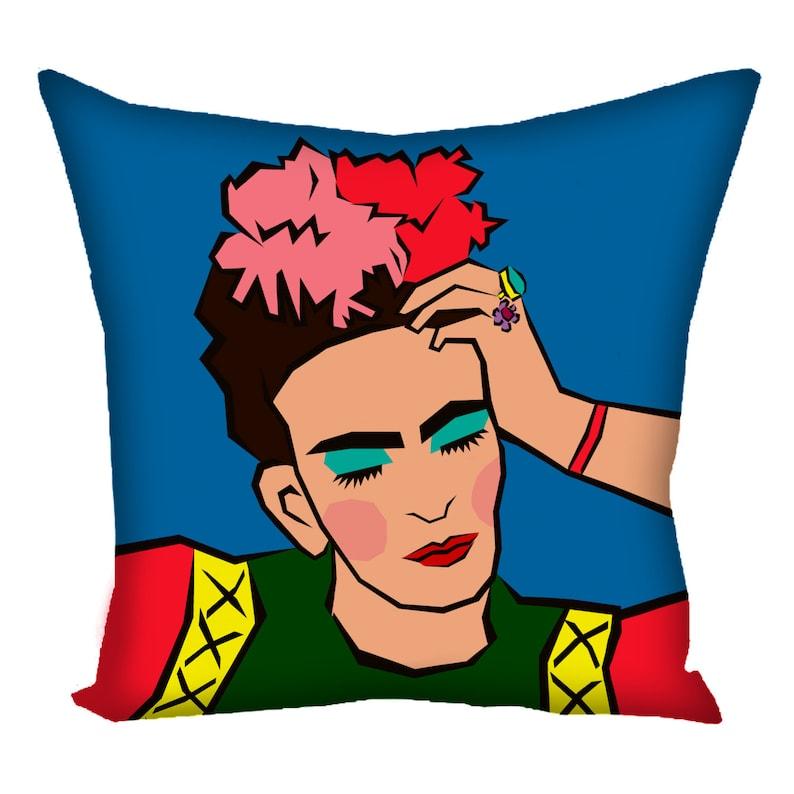 Pop art portrait Pensive Frida painting of Tanita Kahlo print on the dag