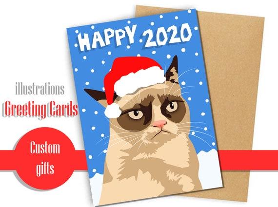Intermeme Grumpy Cat Happy 2020 New Year card I | Etsy
