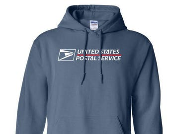 USPS Indigo Blue Hooded Postal Sweatshirt. All Sizes Available!
