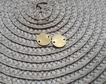 The small round connector stamping raw brass 2 holes