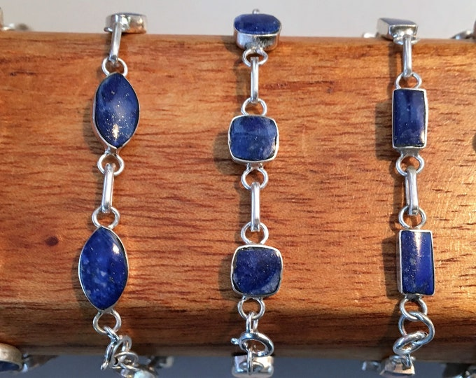 Featured listing image: BR Silver bracelet with lapis lazuli