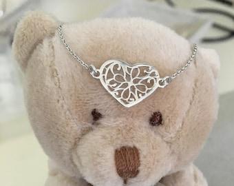 BR CORAZON FILIGRANA Silver Heart Bracelet