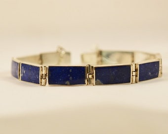 BR CIUDAD Silver bracelet with big lapis lazuli rectangles