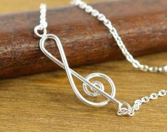 BR GRAN MUSICA Silver Bracelet with a treble clef
