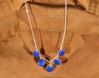 CO 5 LUNAS BOLITAS Silver and lapis lazuli necklace