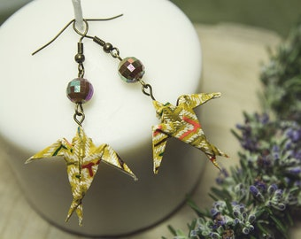 Swallow handmade earrings, origami swallow, Japanese paper, hand folded paper, gifts for the inauguration, origami animals, Italy