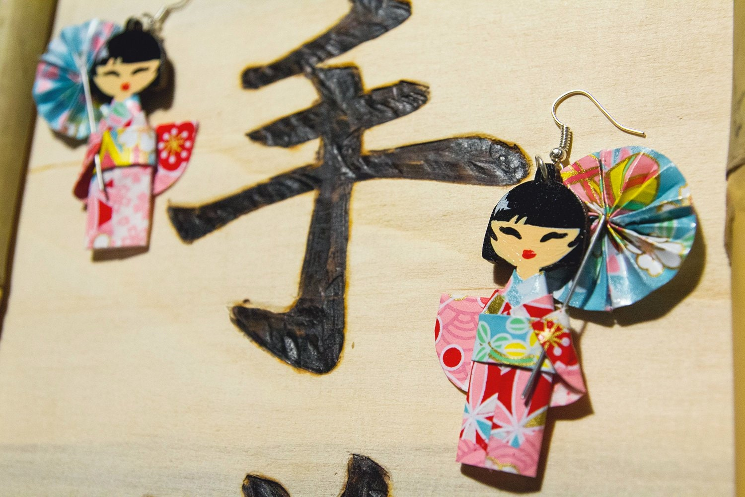 Japanese Pendant Earrings Doll