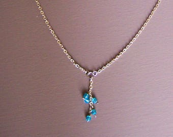 Necklace avalanche of rain, rain beads pendant necklace fairy light blue, glossy