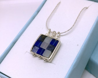 Silver necklace, Gem stones necklace, , statement necklace, , square necklace, mosaic necklace