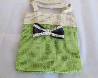 small bag Green stitched with a black bow
