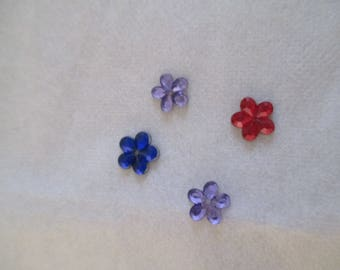 set of 4 flowers rhinestone paste