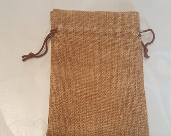 Jute pouch in brown color - 9.5x13cm