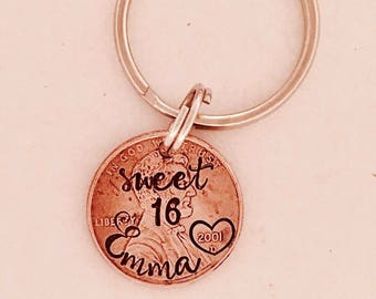 Sweet 16 Key Ring O Penny Personalized New Driver 16th Birthday License Gift