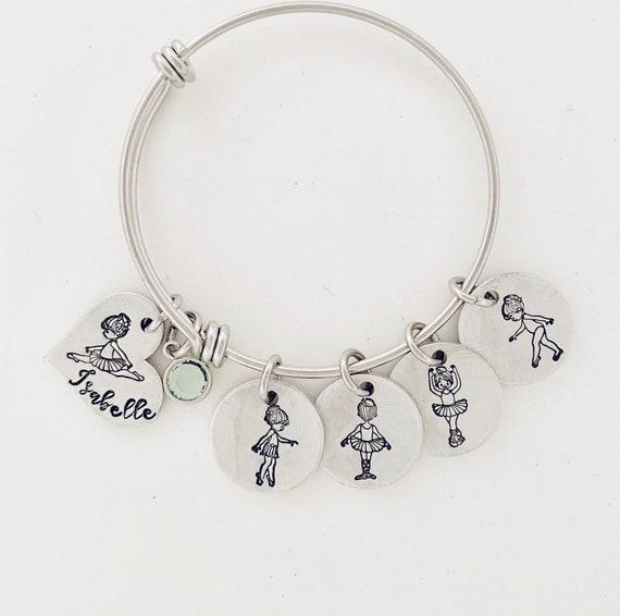 2 Pieces Dance Bracelet Girls Dance Jewelry Pointe Shoe Ballet Bracelet Gift for Dance Recitals Dancers and Dance Teams