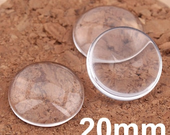 20mm diameter round shape clear glass cabochon , flat back , perfectly smooth edges domes cabochon