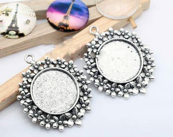 25mm 1 inch 1″ Round Pendant Tray Pendant Blank Base Circle Lace Cameo Cabochon Base Setting fit 25mm 1 inch 1″ Round Cabochon