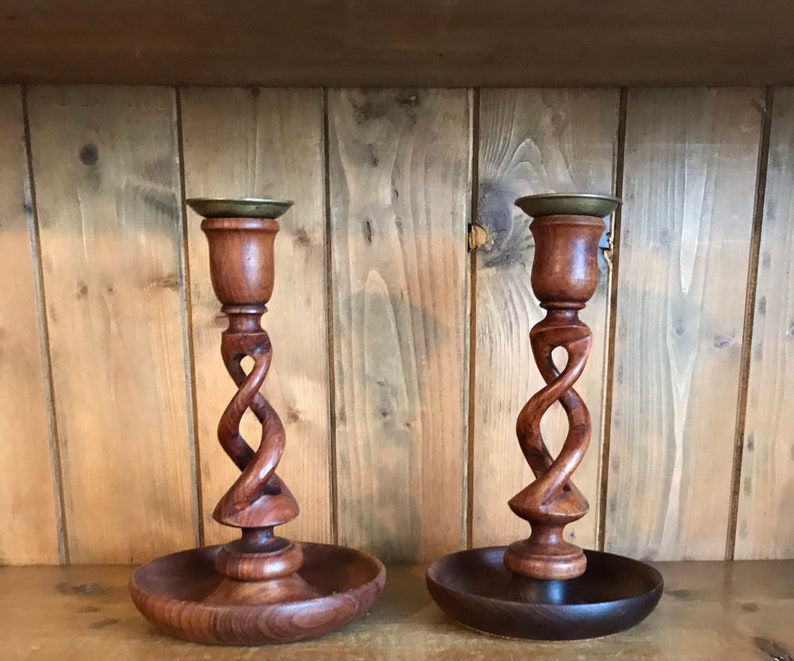 A Lovely Vintage Set of Wooden Candlestick Holders