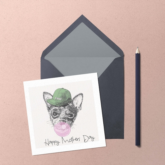 Mothers Day Chihuahua Greeting Card. Handmade cute chihuahua blowing a bubble greeting card by Chihuahua Power