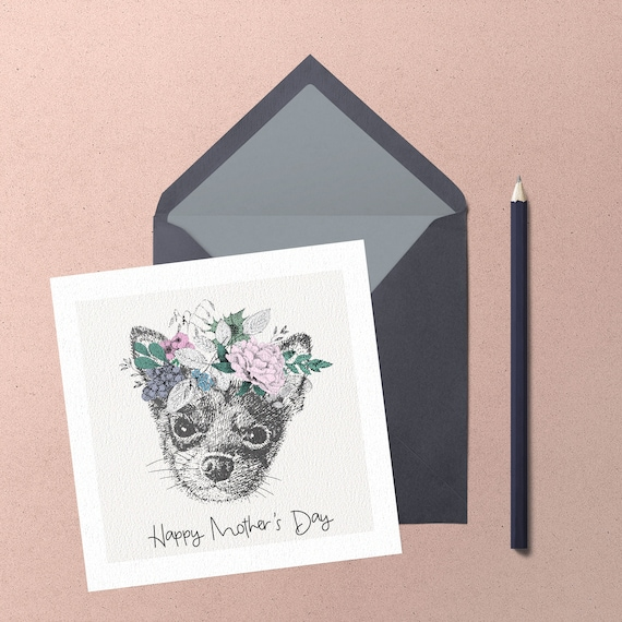 Mothers Day Chihuahua Greeting Card. Handmade cute chihuahua with floral wreath greeting card by Chihuahua Power