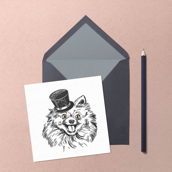 Chihuahua Greeting Card. Handmade cute longhair chihuahua with top hat greeting card blank for own message by Chihuahua Power