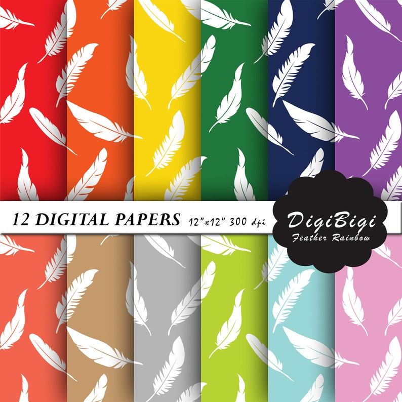 Feathers Pattern Paper Feathers Digital Paper White Feathers Digital Paper Rainbow Feathers Digital Paper Feathers Background