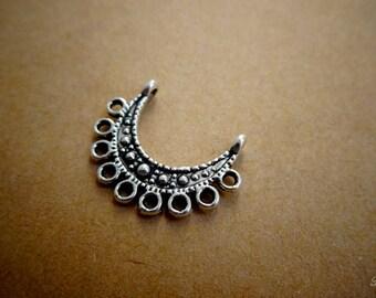 1 connector Moon / semicircle silver color