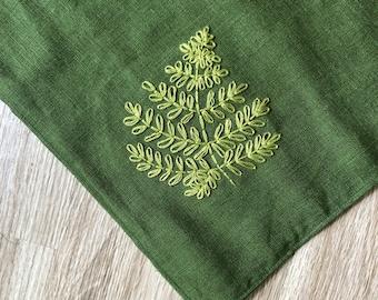 Embroidered Triangle Bandana - Fern Embroidery - Green 100% Linen Bandana