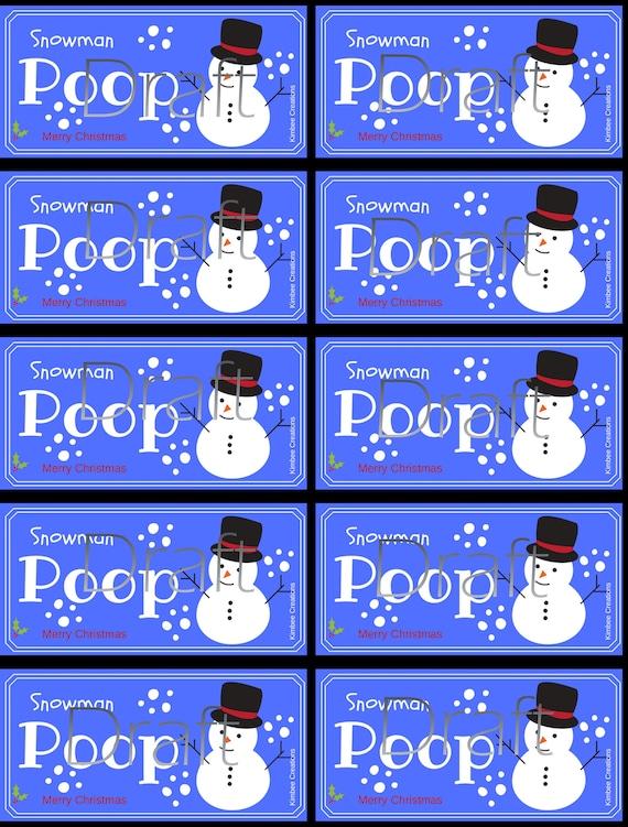 Christmas Snowman Poop Labels Etsy