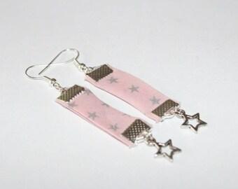 Pink star earrings silver
