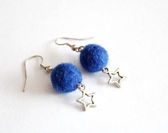 Earrings blue FELTED wool