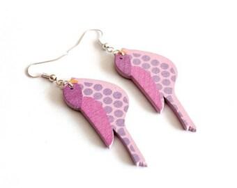 Purple/pink bird wooden earrings