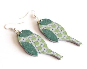 Green Bird wooden earrings