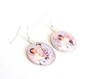 LITTLE girl and cat cabochon earrings