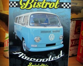 """small metal plate """"Bistro aircooled"""" deco 30x21cm VW combi"""
