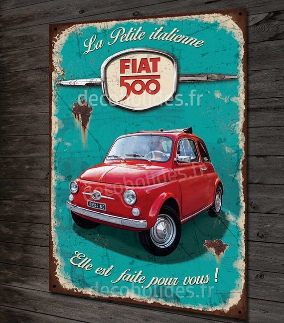 Plate Metal Deco Fiat 500 Red The Small Italian Etsy
