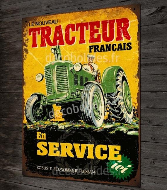 Deco Vintage Tractor Metal Sign Etsy