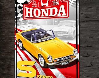 deco Honda S500-600-800, Honda vintage metal plate & rally