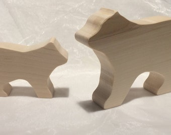 Wooden Toy Bears - mother and baby - animal toy - solid wood - nursery decor - baby shower -Waldorf - Montessori - natural toys